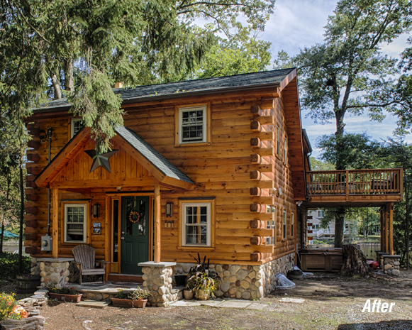 Log cabin addition renovation holliday architects for Log cabin additions ideas